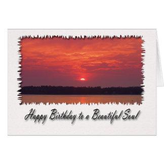 Cartes Joyeux anniversaire à une belle âme, coucher du