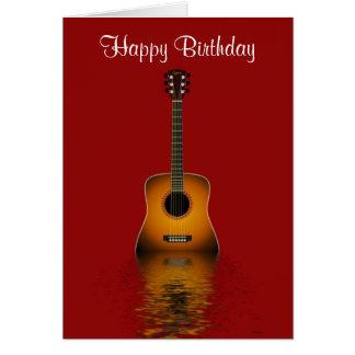 Cartes Joyeux anniversaire avec la guitare acoustique
