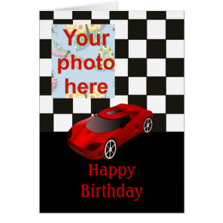 Cartes Joyeux anniversaire avec la voiture de course