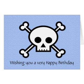 Cartes Joyeux anniversaire avec le crâne et les os