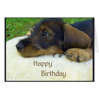 Cartes Joyeux anniversaire, chiot mignon de teckel