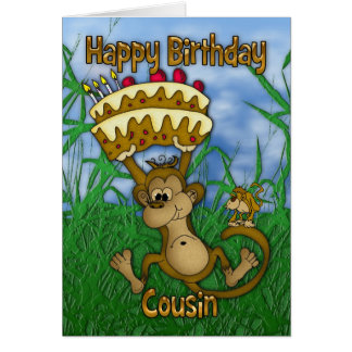 Cartes Joyeux anniversaire de cousin avec le gâteau de