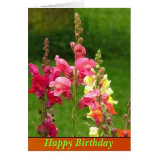 Cartes Joyeux anniversaire de fleur jaune rose de muflier
