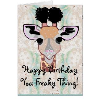 Cartes Joyeux anniversaire de girafe bizarre !