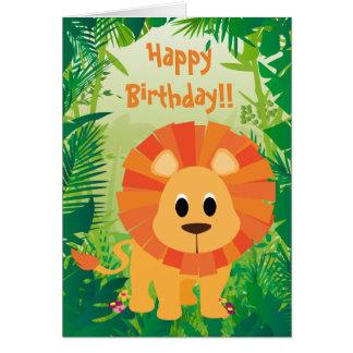 Cartes Joyeux anniversaire de lion mignon