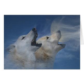 Cartes Joyeux anniversaire de loup hurlant la bonne