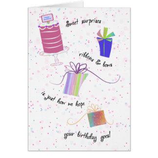 Cartes Joyeux anniversaire de rubans et d'arcs du bonbon