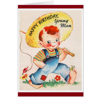 Cartes Joyeux anniversaire - jeune pêcheur