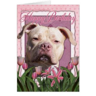 Cartes Joyeux anniversaire - Pitbull - fille du Jersey