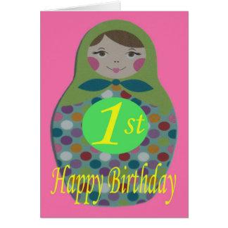 Cartes Joyeux ęr anniversaire de poupée russe