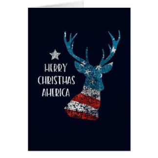 Cartes Joyeux Noël Amérique. Drapeau de renne. Affligé