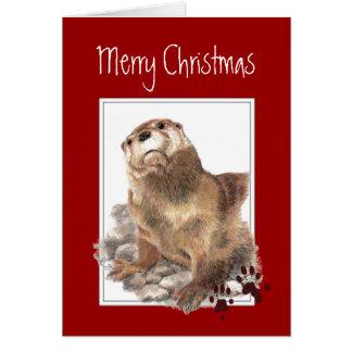 Cartes Joyeux Noël, animal mignon de loutre