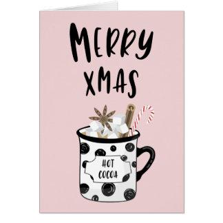 Cartes Joyeux Noël avec du cacao chaud