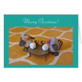 Cartes Joyeux Noël avec un couple de pingouin