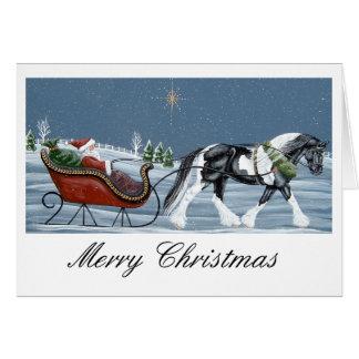 Cartes Joyeux Noël de cheval gitan de Vanner
