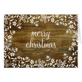 Cartes Joyeux Noël de Fluer sur le bois repris