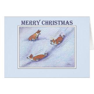 Cartes Joyeux Noël, glissement de neige de chiens de