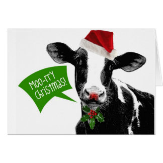 Cartes Joyeux Noël MOO-rry de vache drôle à vacances