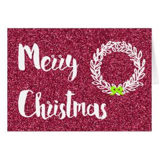 Cartes Joyeux Noël (parties scintillantes roses foncées