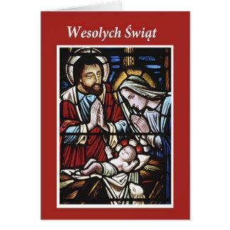 Cartes Joyeux Noël polonais, verre souillé, religieux