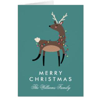 Cartes Joyeux renne de lumières de Noël de Christmas|