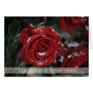 Cartes Joyeux RO neigeux Noël-Heureux français de rouge