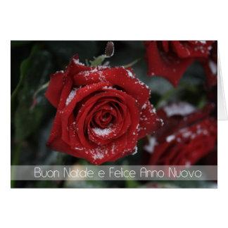Cartes joyeux rouge neigeux Noël-Heureux italien r de
