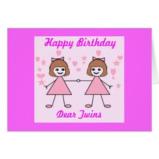 Cartes Jumelles de fille, joyeux anniversaire