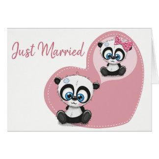 Cartes Juste mariage marié de coeur de rose d'ours panda
