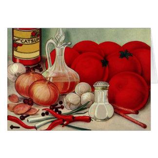 Cartes Ketchup italien vintage de poivrons d'oignons de