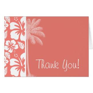 Cartes Ketmie tropicale rose de corail ; Paume d'été