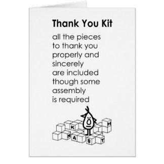 Cartes Kit de Merci - un drôle vous remercie poème