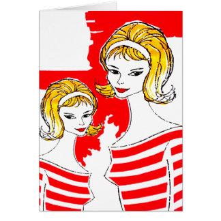 Cartes Kitsch féminin de cru de mod d'art de produits