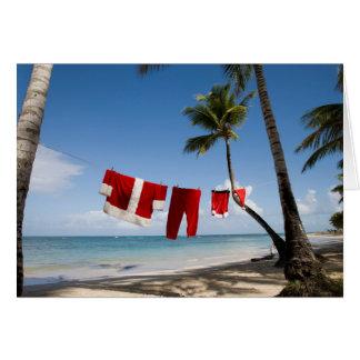 Cartes La blanchisserie de Père Noël sur la plage