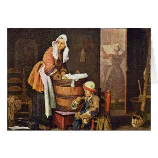 Cartes La blanchisseuse, par Chardin Jean-Baptiste Siméon