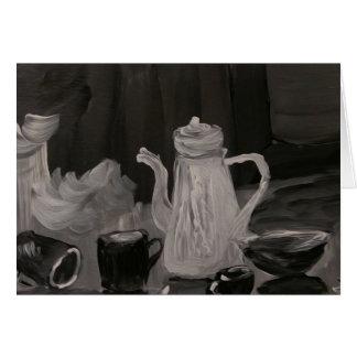 Cartes La bouilloire et les tasses, nous joignent thé