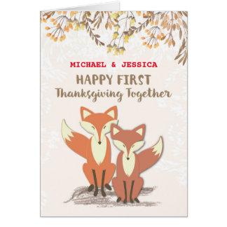 Cartes La coutume appelle les ęrs renards de thanksgiving