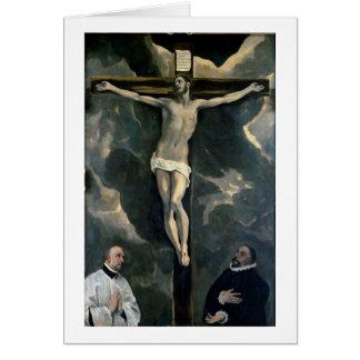 Cartes La crucifixion avec deux donateurs, c.1580 (huile