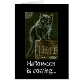 Cartes La DÉCHIRURE Halloween de pierre tombale de chat
