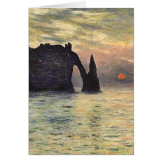 Cartes La falaise Etretat, coucher du soleil par Claude