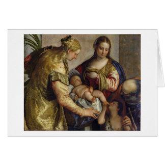 Cartes La famille sainte avec St Barbara, c.1550 (huile