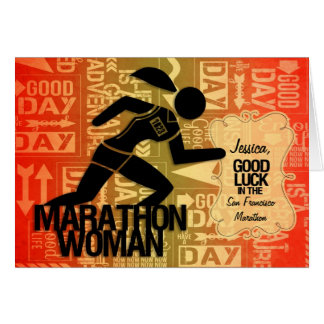 Cartes La femme de marathon de bonne chance folâtre la