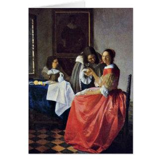 Cartes La fille avec un verre à vin. Par Johannes Vermeer