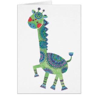 Cartes La girafe verte magnifique