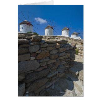Cartes La Grèce, îles de Cyclades, Mykonos, mur en pierre