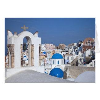 Cartes La Grèce, Santorini. Tour de Bell et dômes bleus