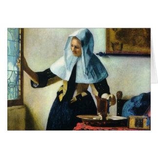 Cartes La jeune femme de Vermeer avec un broc Ca 1665 de