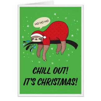 Cartes La paresse Père Noël refroidissent est Noël