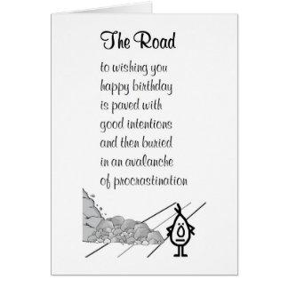 Cartes La route - un poème tardif drôle d'anniversaire