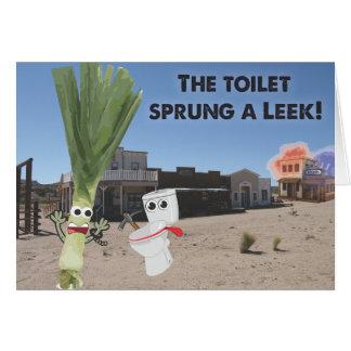 Cartes La toilette jaillie un poireau !